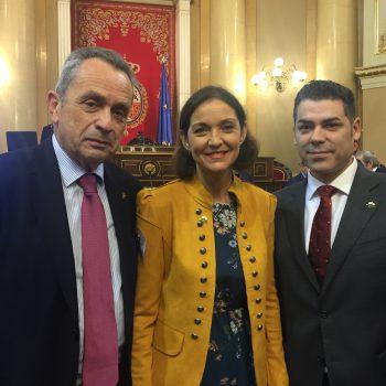 Pie de foto: Santiago Rego, Reyes Maroto y Fran Mestre, de izquierda a derecha.